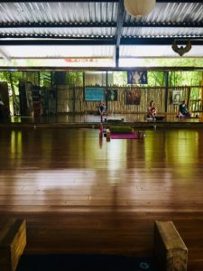 The yoga space. Beautiful bamboo floors, preparing for my first yoga class at Danyasa.